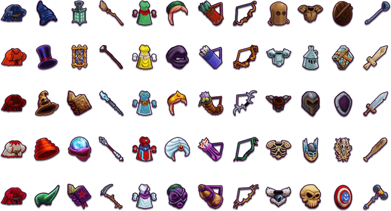Complete Hero gear icon set